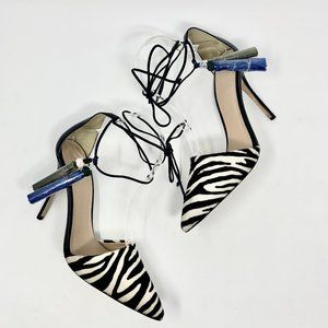 J. Crew Collection Roxie Zebra Calf Hair Tie Pumps